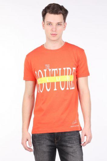 Erkek Turuncu Couture Baskılı Bisiklet Yaka T-shirt - Thumbnail