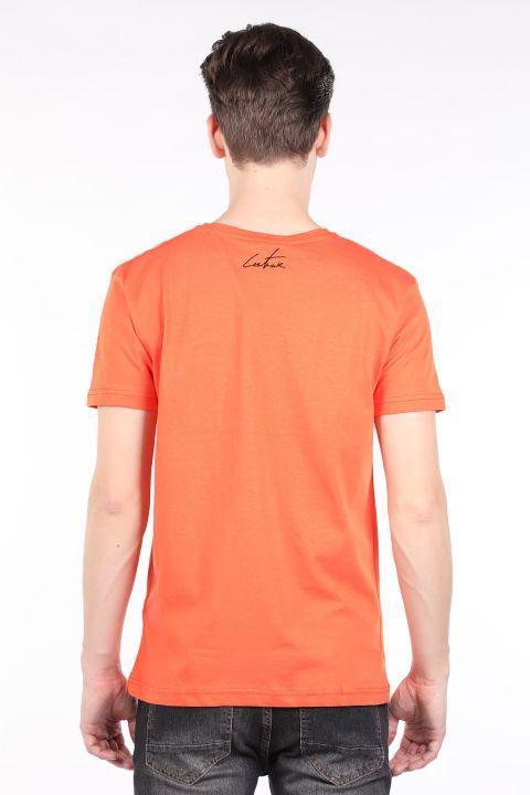 Erkek Turuncu Couture Baskılı Bisiklet Yaka T-shirt