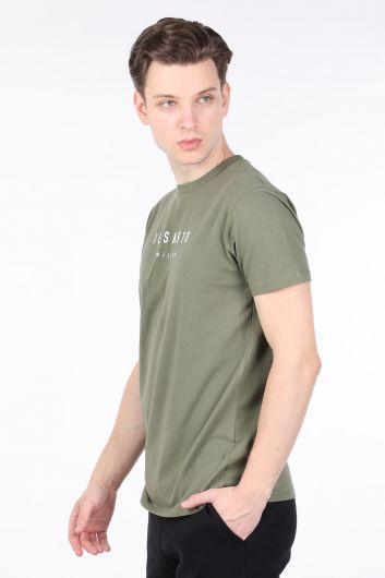 Erkek Yeşil Bisiklet Yaka T-shirt - Thumbnail
