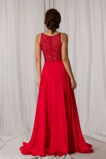 Shecca By Dayi - Halter Strap Tulle Red Long Chiffon Evening Dress (1)