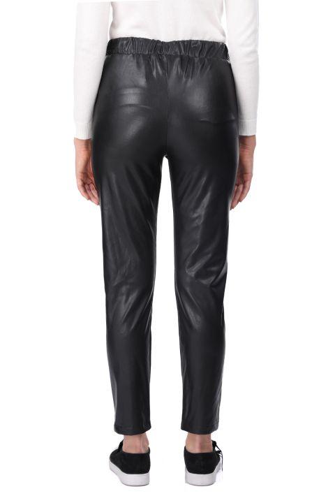 مرونة الخصر ربط بنطلون جلد صناعي أسود للمرأة
