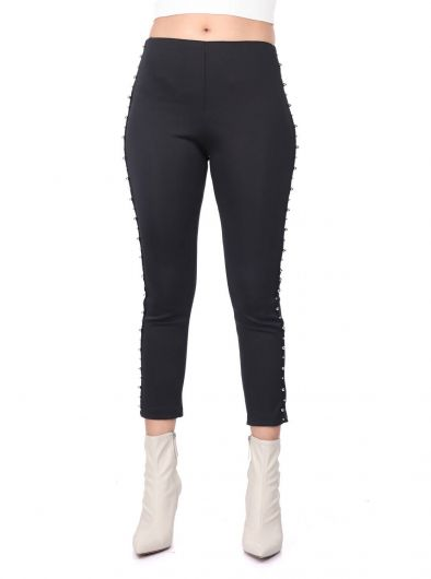 MARKAPIA WOMAN - Faux Pearls Black Women's Leggings (1)