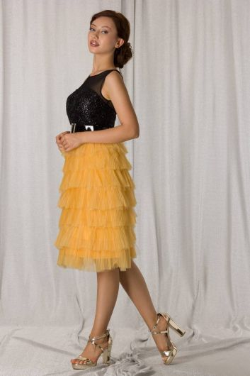 فستان سهرة قصير بطبقات أصفر وأسود - Thumbnail