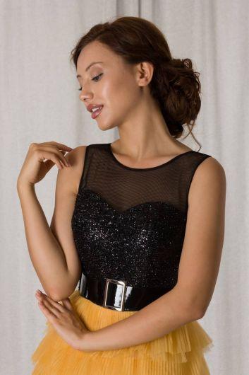 Желто-черное короткое вечернее платье с многослойной складкой - Thumbnail