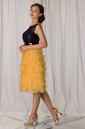 Yellow Black Layered Pleated Short Evening Dress - Thumbnail