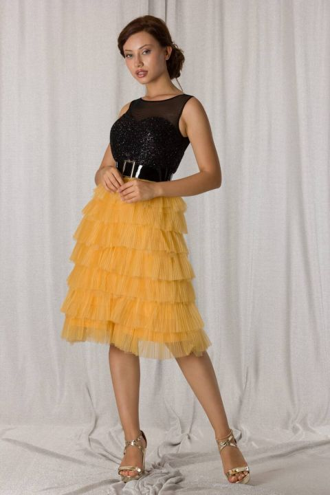 Yellow Black Layered Pleated Short Evening Dress