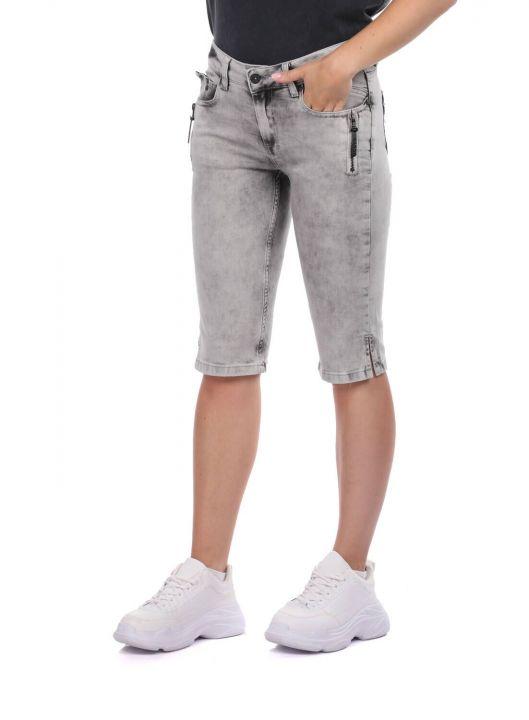 Banny Jeans Fermuar Cepli Kadın Kapri