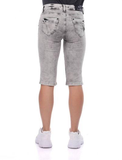 Banny Jeans Fermuar Cepli Kadın Kapri - Thumbnail