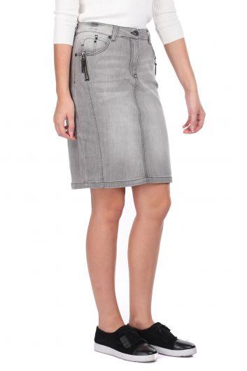 Banny Jeans - Fermuar Detaylı Gri Kadın Jean Etek (1)