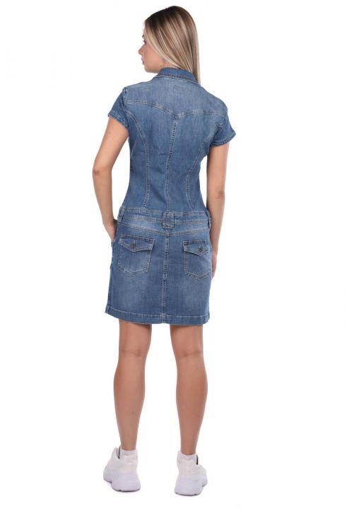 Fermuar Detaylı Cepli Jean Elbise