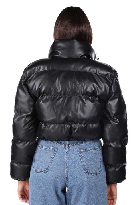 Fermuarlı Kısa Siyah Kadın Şişme Mont