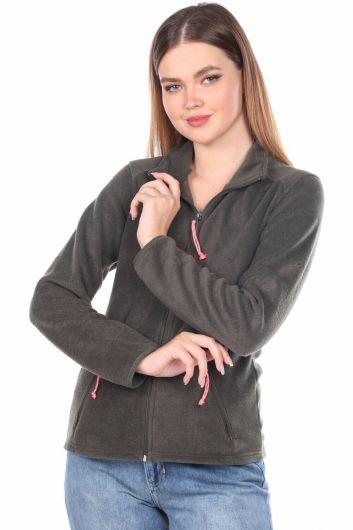 Fermuarlı Yeşil Kadın Polar Sweatshirt - Thumbnail