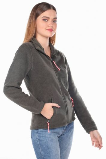 MARKAPIA WOMAN - Green Women's Fleece Sweatshirt with Zipper (1)