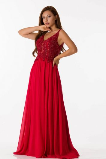 Shecca By Dayi - Stony Chiffon Red Long Evening Dress (1)