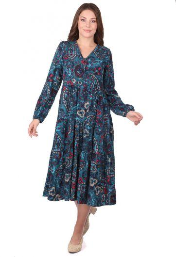 Fırfırlı Uzun Kollu Çiçek Desenli Elbise - Thumbnail