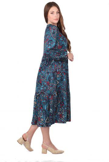 MARKAPIA WOMAN - Fırfırlı Uzun Kollu Çiçek Desenli Elbise (1)