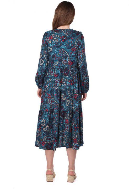 Fırfırlı Uzun Kollu Çiçek Desenli Elbise