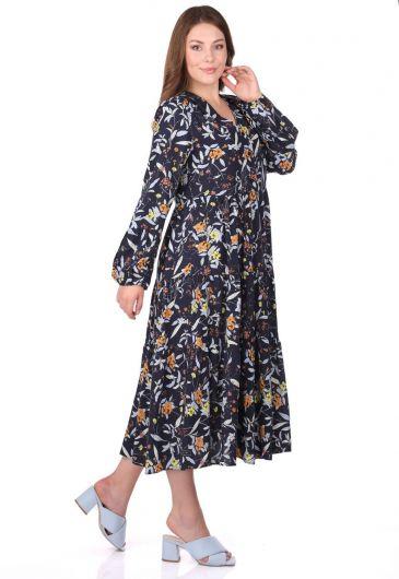MARKAPIA WOMAN - Fırfırlı Uzun Kollu Desenli Elbise (1)