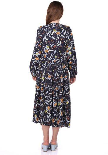 Fırfırlı Uzun Kollu Desenli Elbise - Thumbnail