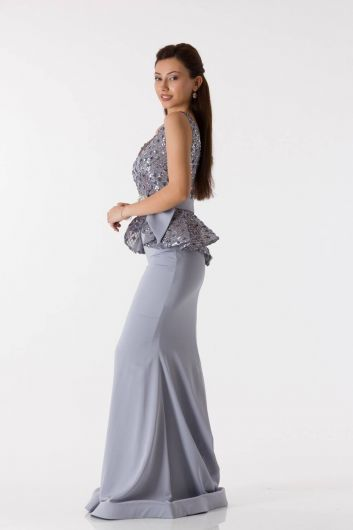 shecca - Belted Gray Fish Evening Dress (1)