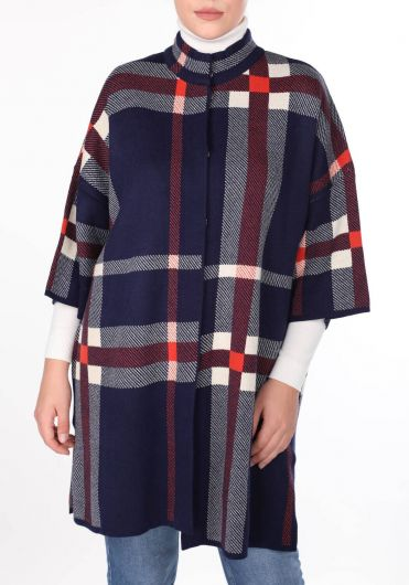 MARKAPIA WOMAN - Navy Blue Plaid Half Turtleneck Women Knitwear Cardigan (1)