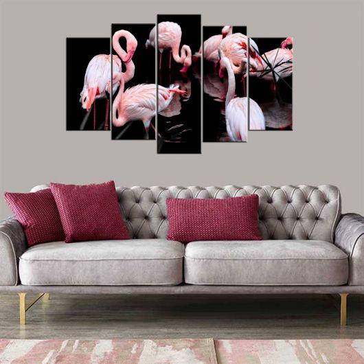 Flamingo Manzaralı 5 Parçalı Mdf Tablo - Thumbnail