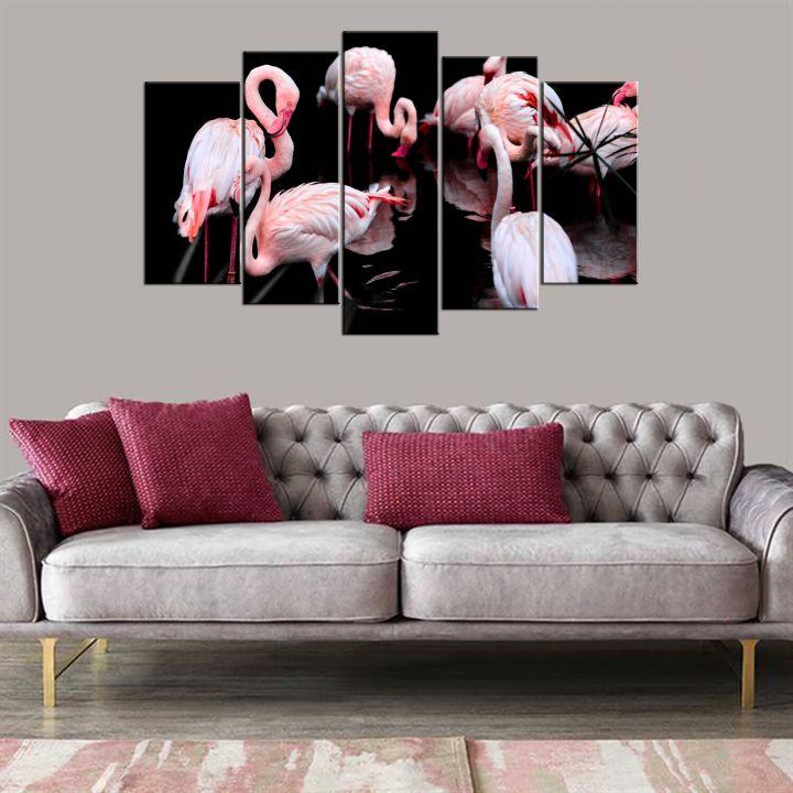 Flamingo Manzaralı 5 Parçalı Mdf Tablo