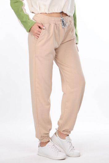 MARKAPIA WOMAN - Женские однотонные эластичные бежевые спортивные штаны (1)