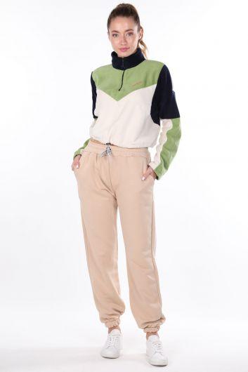 Women's Plain Elastic Beige Sweatpants - Thumbnail