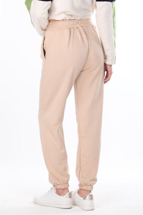 Women's Plain Elastic Beige Sweatpants
