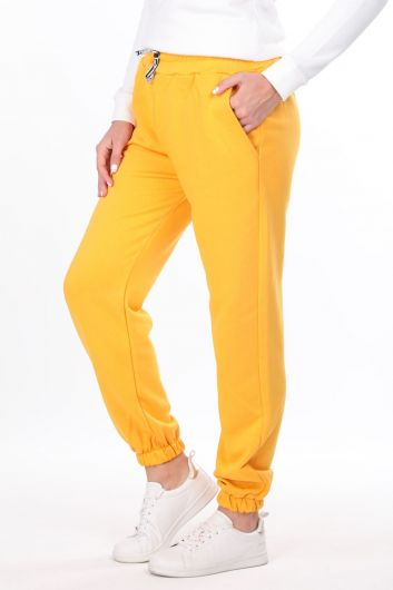 MARKAPIA WOMAN - Plain Elastic Yellow Women's Sweatpants (1)
