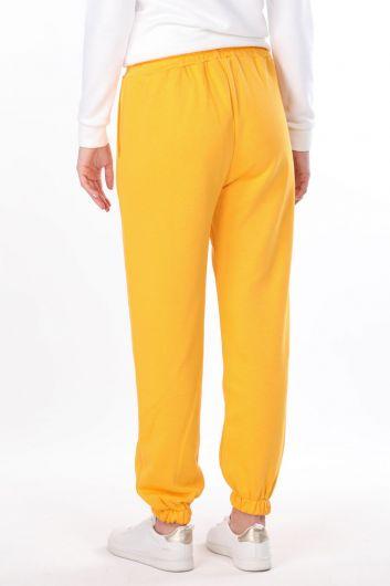 Plain Elastic Yellow Women's Sweatpants - Thumbnail