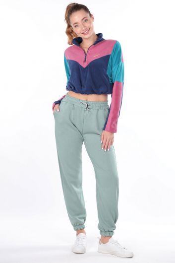 Зеленые женские спортивные штаны на плоской резинке - Thumbnail