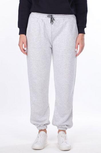 Серые женские спортивные штаны на плоской резинке - Thumbnail