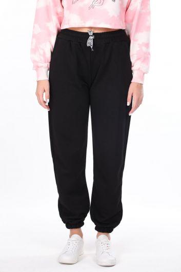 Flat Elastic Black Women's Sweatpants - Thumbnail