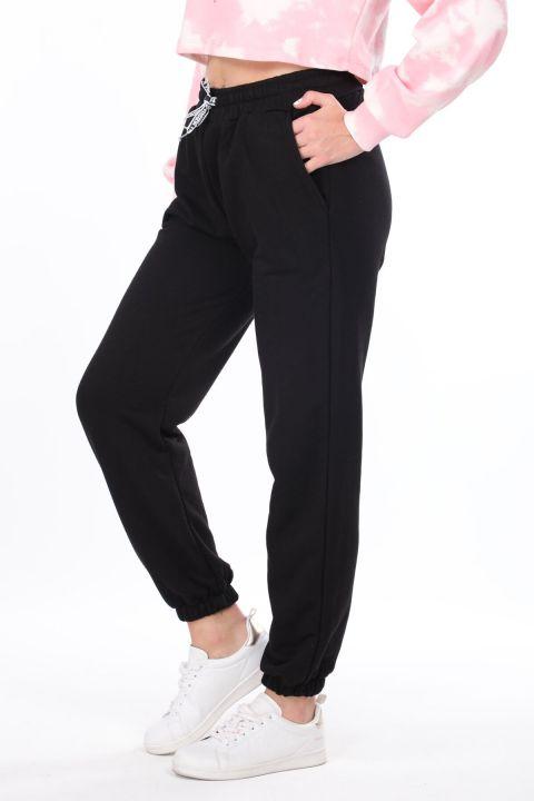 Flat Elastic Black Women's Sweatpants