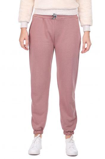 Розовые женские спортивные штаны на плоской резинке - Thumbnail