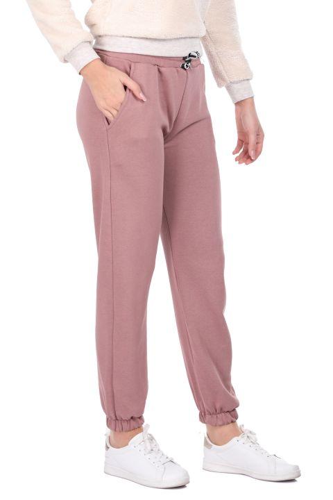 Розовые женские спортивные штаны на плоской резинке