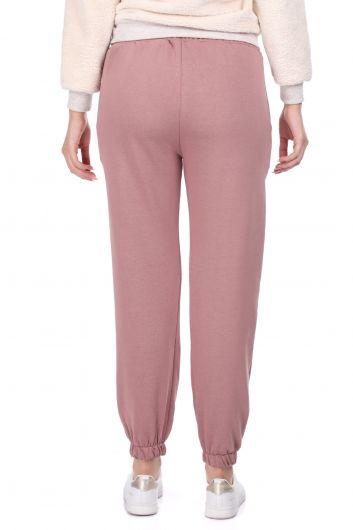 Flat Elastic Pink Women's Sweatpants - Thumbnail