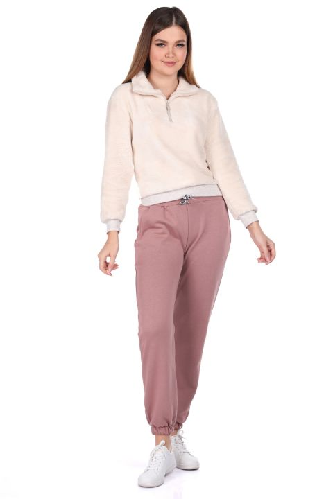Flat Elastic Pink Women's Sweatpants