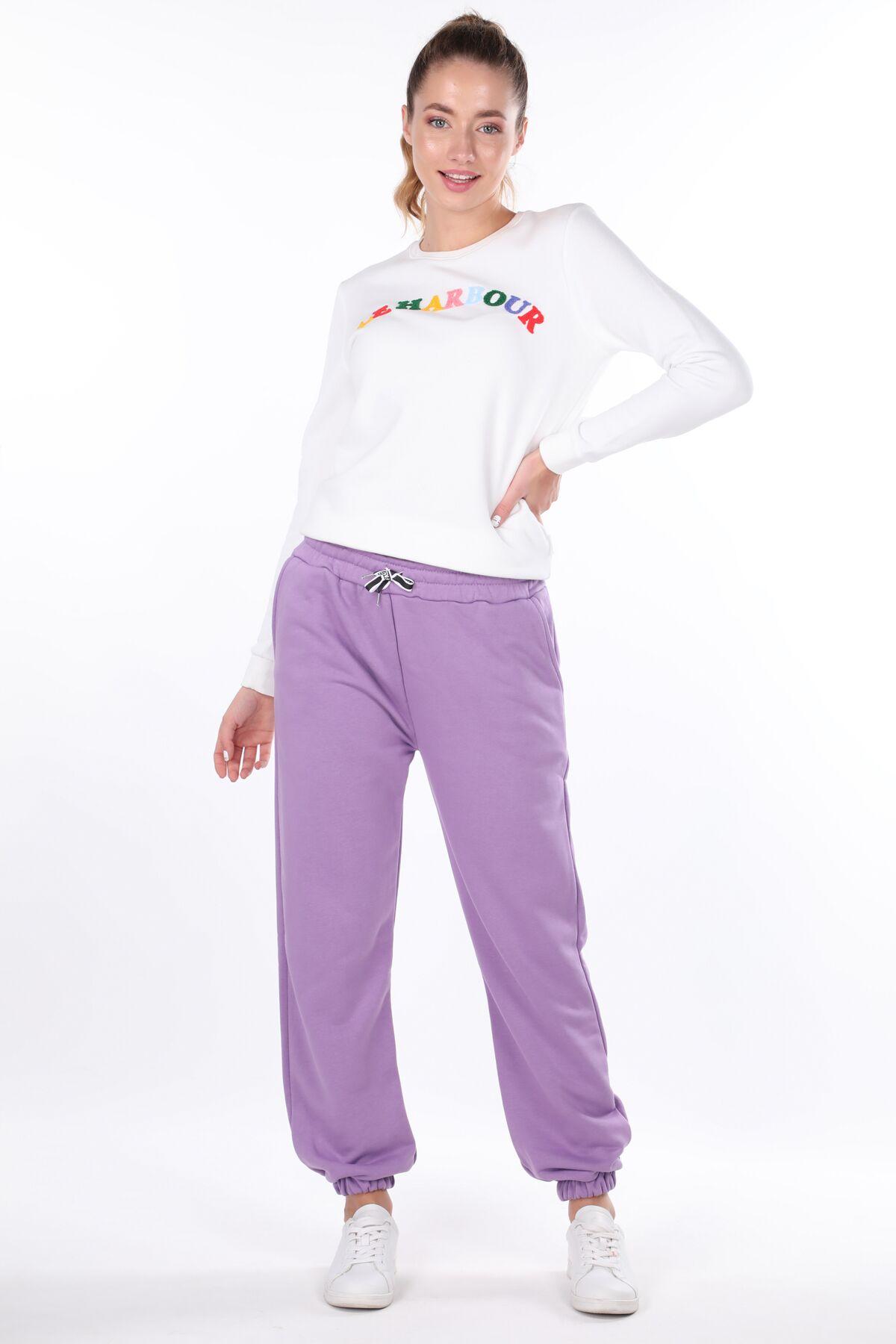 Сиреневые женские прямые эластичные брюки