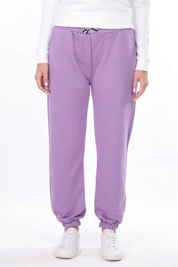 Women's Lilac Straight Elastic Trousers - Thumbnail