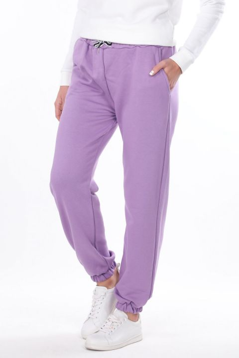 Women's Lilac Straight Elastic Trousers