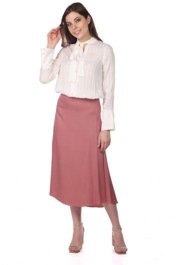 Markapia Pink Straight Midi Skirt - Thumbnail