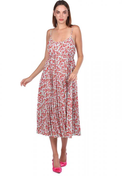 Thin Strap Flower Patterned Accordion Dress