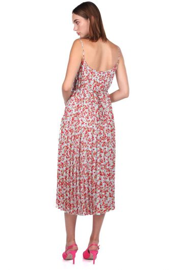 Thin Strap Flower Patterned Accordion Dress - Thumbnail