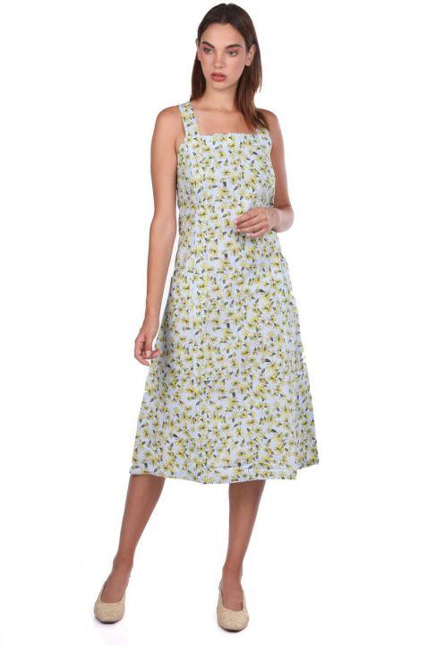 فستان سميك بحمالات مزخرفة بالزهور