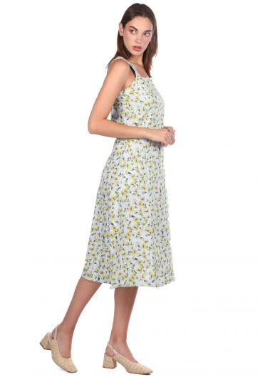 Thick Strapped Floral Pattern Dress - Thumbnail