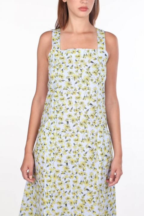 Thick Strapped Floral Pattern Dress