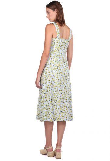 Плотное платье с цветочным узором на бретелях - Thumbnail